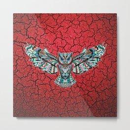 Colorful Owl Pattern Metal Print