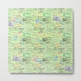 Worldly Traveler - Passport Pattern - Light Green Metal Print