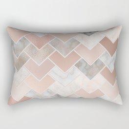 Rose Gold and Marble Geometric Tiles Rectangular Pillow