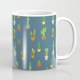 Cacti Pattern - Dusty Blue Coffee Mug