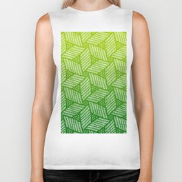 Japanese style wood carving pattern in green Biker Tank