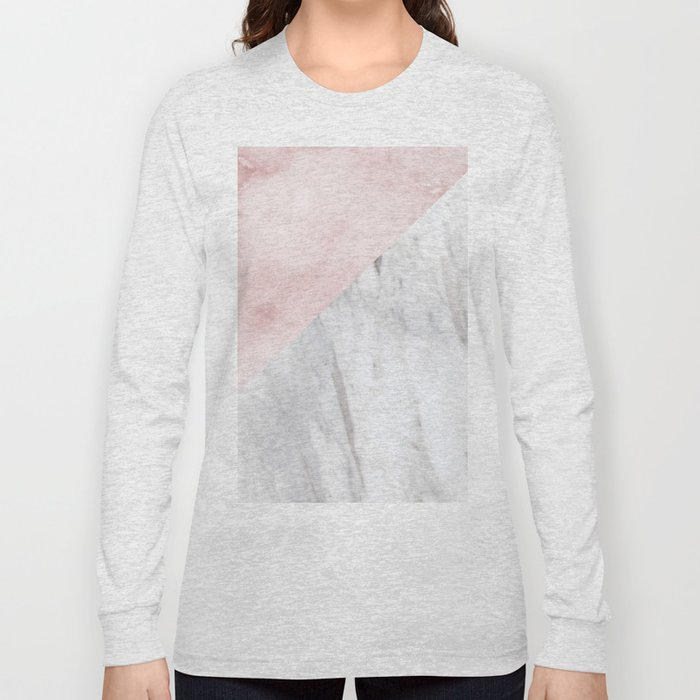Marchionne Bianco & Silvec Rosa marble soft pink Long Sleeve T-shirt