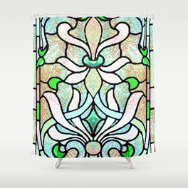 Delicate Stained-glass in Victorian Green Detail Shower Curtain