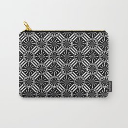 Wavy Black and White Pinwheel and Stripes Pattern - Graphic Design Carry-All Pouch