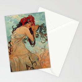 1896 SUMMER - 4 Seasons Alphonse Mucha Art Nouveau Goddess Vintage Lithograph French Stationery Cards