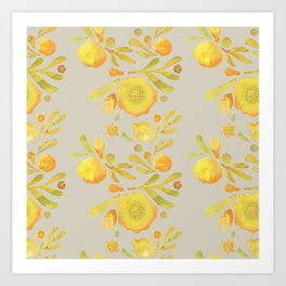 Granada Floral in Yellow on grey Art Print