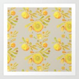 Granada Floral in Yellow on grey Art Print