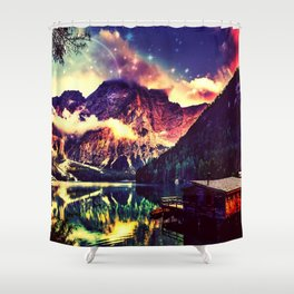 Night Sky at the lake Shower Curtain