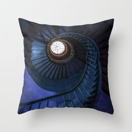 Abandoned blue spiral staircase Throw Pillow