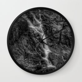 Waterfalls - Black And White Fine Art At Barron Gorge National Park Wall Clock
