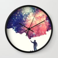 night Wall Clocks featuring Painting the universe by badbugs_art
