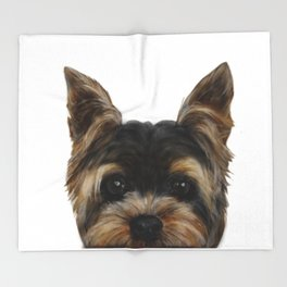 Yorkshire Terrier Mix colorDog illustration original painting print Throw Blanket