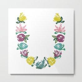 Floral U Monogram Metal Print