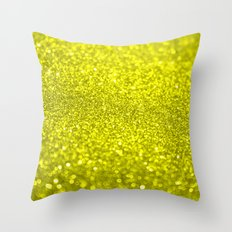 Bright Yellow Glitter Throw Pillow