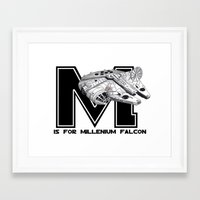 millenium falcon Framed Art Prints featuring M is for Millenium Falcon by Koi Moon