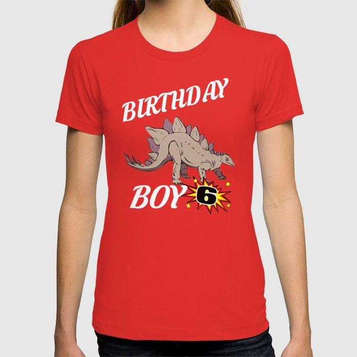 6 Years Old Birthday Design Dinosaur GifDesign T Shirt By Wigglebutts