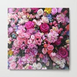 Pretty blush pink white fuchsia roses floral photo Metal Print
