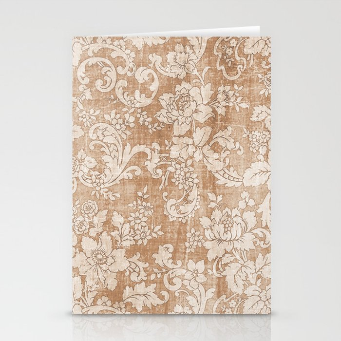 Vintage white brown grunge shabby floral Stationery Cards