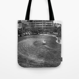 Mowing The Lawns In A Circle Tote Bag