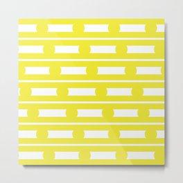 Geometric Stripe & Spot Yellow Metal Print