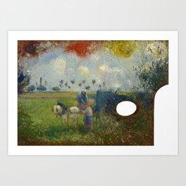 The Artist's Palette with a Landscape Camille Pissarro Art Print