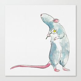 Woodland mouse with a flower Canvas Print