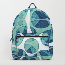 Circle web of connectiveness pattern in mint & navy Backpack