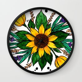 Zalipie Flowers Wall Clock