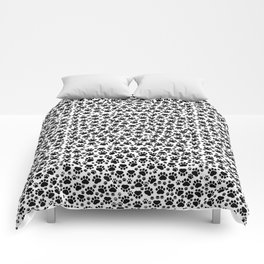 Dog Paws, Traces, Paw-prints - White Black Comforters