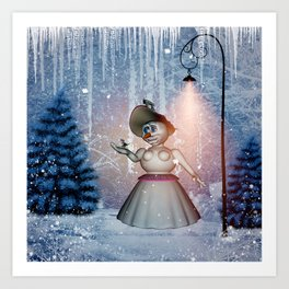 Funny snow women with bird Art Print