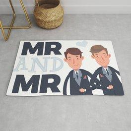 Mr and Mr gay wedding Rug
