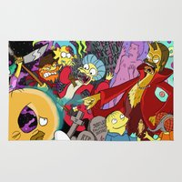 simpsons Area & Throw Rugs featuring Simpsons Halloween Bonanza by Laura Von Burns