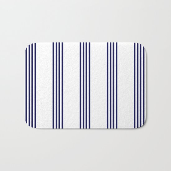 Blue- White- Stripe - Stripes - Marine - Maritime - Navy - Sea - Beach - Summer - Sailor Bath Mat
