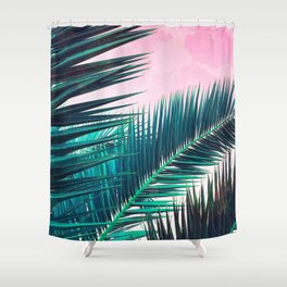 Nostalgic Palm Leaves on Pink #homedecor #buyart Shower Curtain