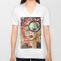 poker V-neck T-shirts featuring Poker Face by Katy Hirschfeld