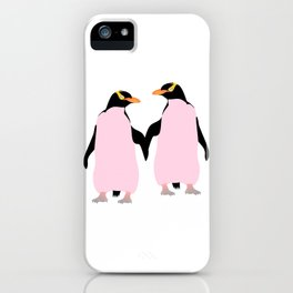 Gay Pride Lesbian Penguins Holding Hands iPhone Case