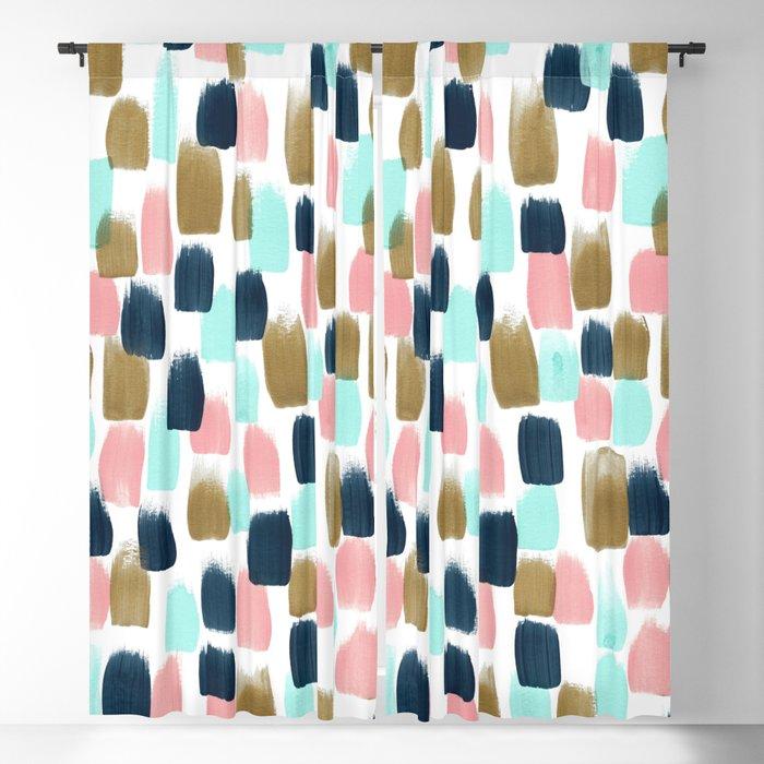 Pink Mint Navy Gold Abstract Print Nursery Art Little S Room Blackout Curtain By Cateandrainn