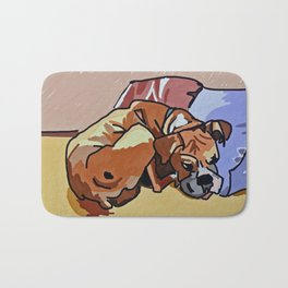 Abby Rests Boxer Dog Portrait Bath Mat