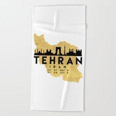 TEHRAN IRAN SILHOUETTE SKYLINE MAP ART Beach Towel