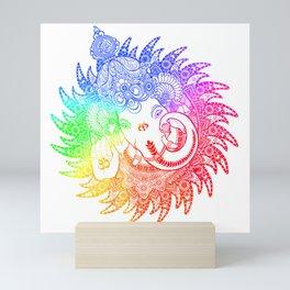 Ganesha Lineart rainbow Mini Art Print