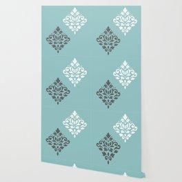 Scroll Damask Art I Gray White Teal Wallpaper