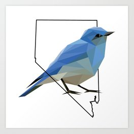 Nevada – Mountain Bluebird Art Print