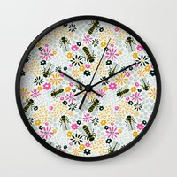 bees Wall Clocks featuring Bees by Yellow Button Studio