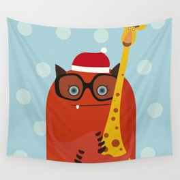 Holiday illustration with red monster and giraffe Wall Tapestry