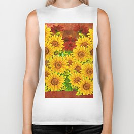 Sunflower Watercolor Pattern (Color) Biker Tank
