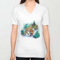 nordic V-neck T-shirts featuring Nordic Kids on white by Lori Keehner