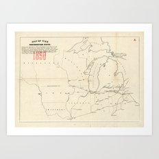 Railroad & The Northwestern States in 1850 Art Print