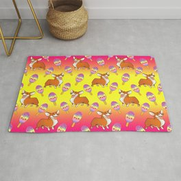 Cute happy playful funny puppy corgi dogs, sweet adorable yummy colorful Kawaii rainbow ice cream popsicles cartoon pretty summer bright sunny yellow pink design. Rug