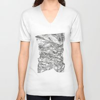 silver V-neck T-shirts featuring Silver by Roscoe