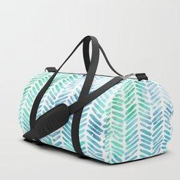 Handpainted Chevron pattern - light green and aqua - stripes Duffle Bag